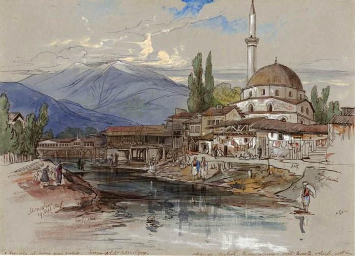 Isak Mosque - Bitola 1848 - Painting by Edward Lear