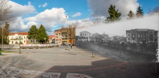 Bitola - then and now - French soldiers are entering Bitola during WW1