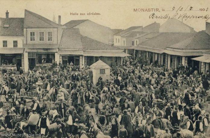 """Житни Пазар мај 1905 испратена во Анверс, Белгија, 7 март 1907 год. Житни Пазар постоеше сé до 1973 година кога на тоа место беше изградена Стоковната куќа на Т.П.""""Јавор""""."""