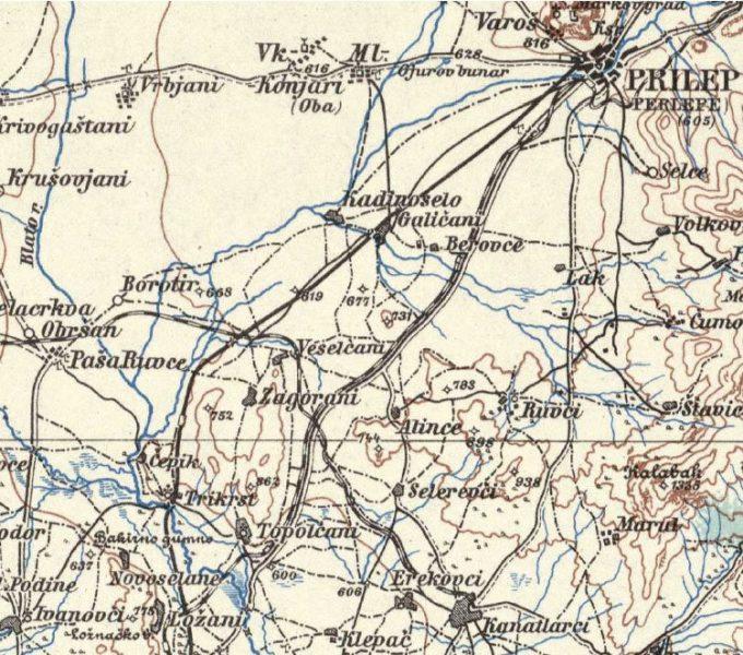 Дел од пругата од Прилеп до селото Лознани преку Алинци и Тополчани.