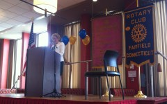 President Deb Clancy explaining Rotary and all of the good that her club does.