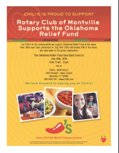 Join me on the 30th for the Montvile Rotary Chili's Give Back Night