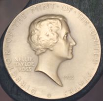 Nellie Tayloe Ross on her Mint medal designed by Chief Engraver John R. Sinnock