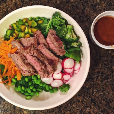 Thai Steak Salad with Peanut Butter Sriracha Dressing