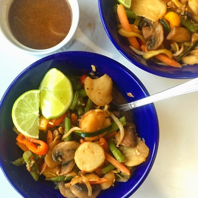 Easy Zoodle Stir Fry with Spicy Peanut Butter Ginger Lime Sauce