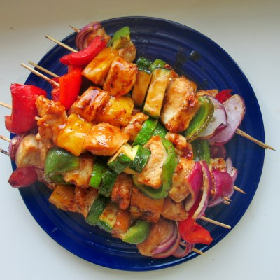 Honey Teriyaki Rainbow Chicken Kebabs with Grilled Marinated Red Potatoes