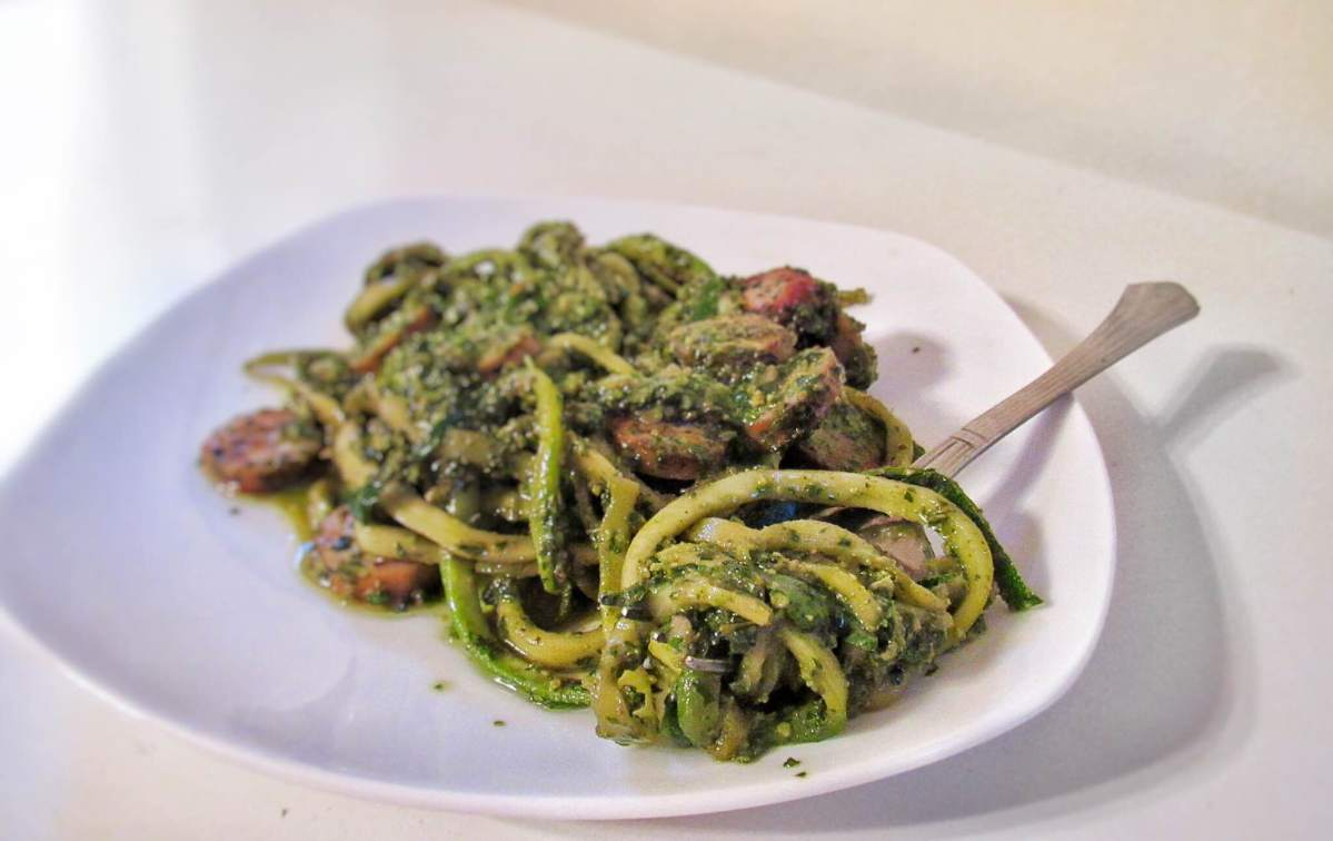 Zucchini Noodles with Whole30 Friendly Pesto and Chicken Kale Sausage