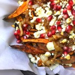 Sweet Potato Cheese Fries with Goat Cheese, Caramelized Onions and Pomegranate Seeds