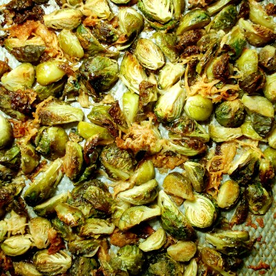 Garlic Parmesan Roasted Brussels Sprouts with Blackberry Balsamic Reduction