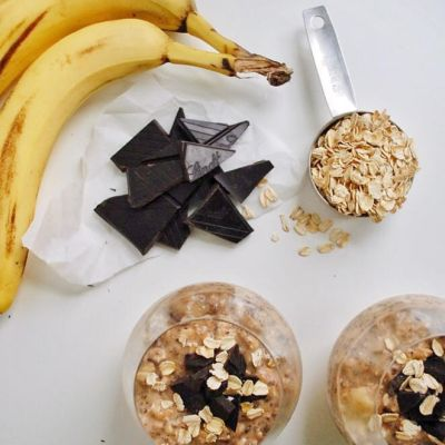 overnight oats: dark chocolate + banana + peanut butter edition