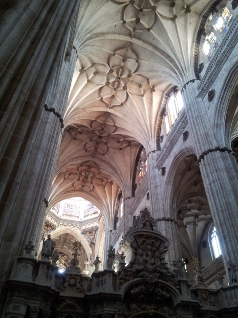 Looking up to the ceiling of the cathedral in Salamanca