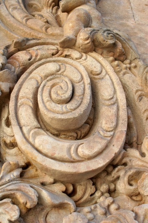 detail of carving in sandstone on building in Salamanca, Spain