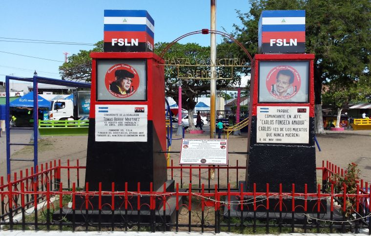 twin monuments in a town square remembering the heroes of the Nicaraguan Revolution of the 1970s.