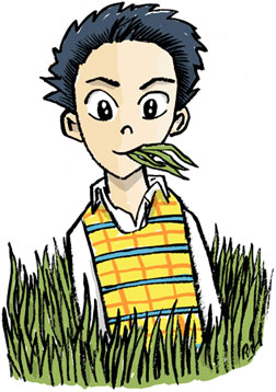 Grass-eating-boy