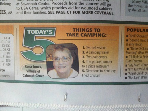 Things to take camping