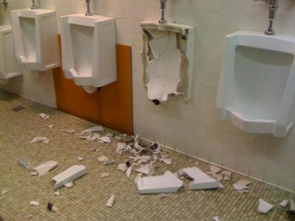 Urinal explosion