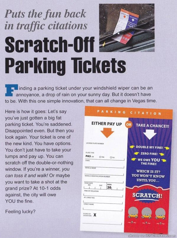 Scratch off parking tickets