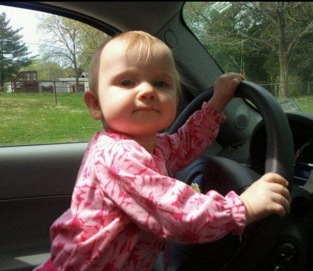 Lillie behind thee wheel