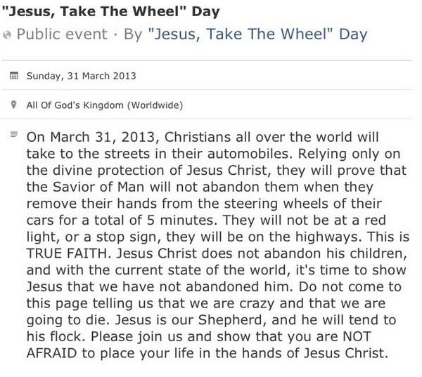Jesus take the wheel day