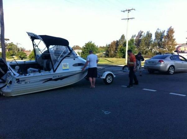 Boat off trailer