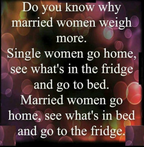 Why married women weigh more than single women