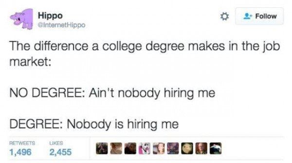 The difference a college degree makes