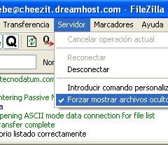 Cómo hacer que aparezca el .htaccess en Filezilla