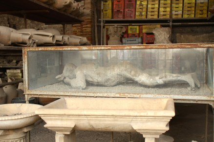 One of the plaster casts of the Pompeii inhabitants who hadn't made it out
