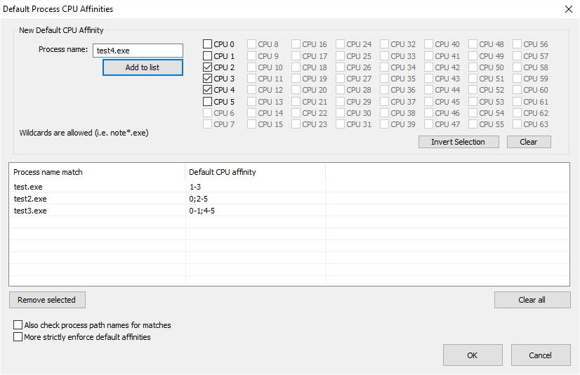 Default CPU Affinity list dialog