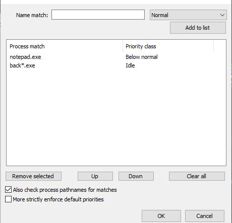 Default CPU Priority Class dialog