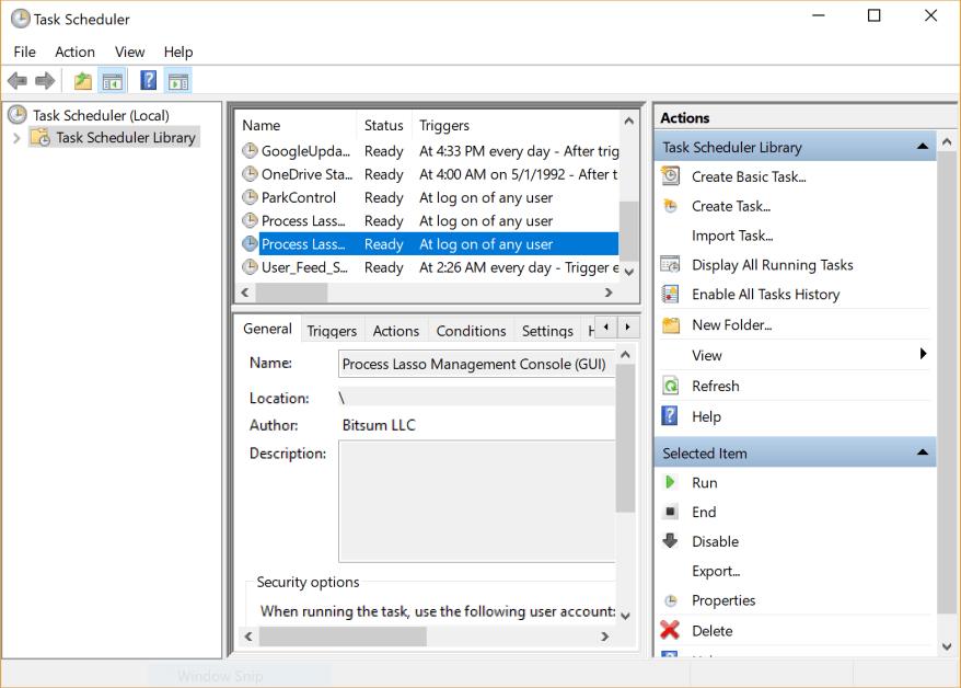 Finding Process Lasso GUI in Task Scheduler