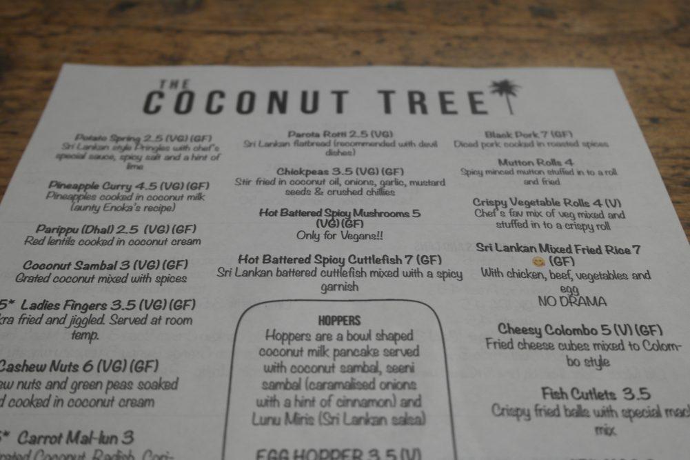 Coconut Tree Oxford Menu