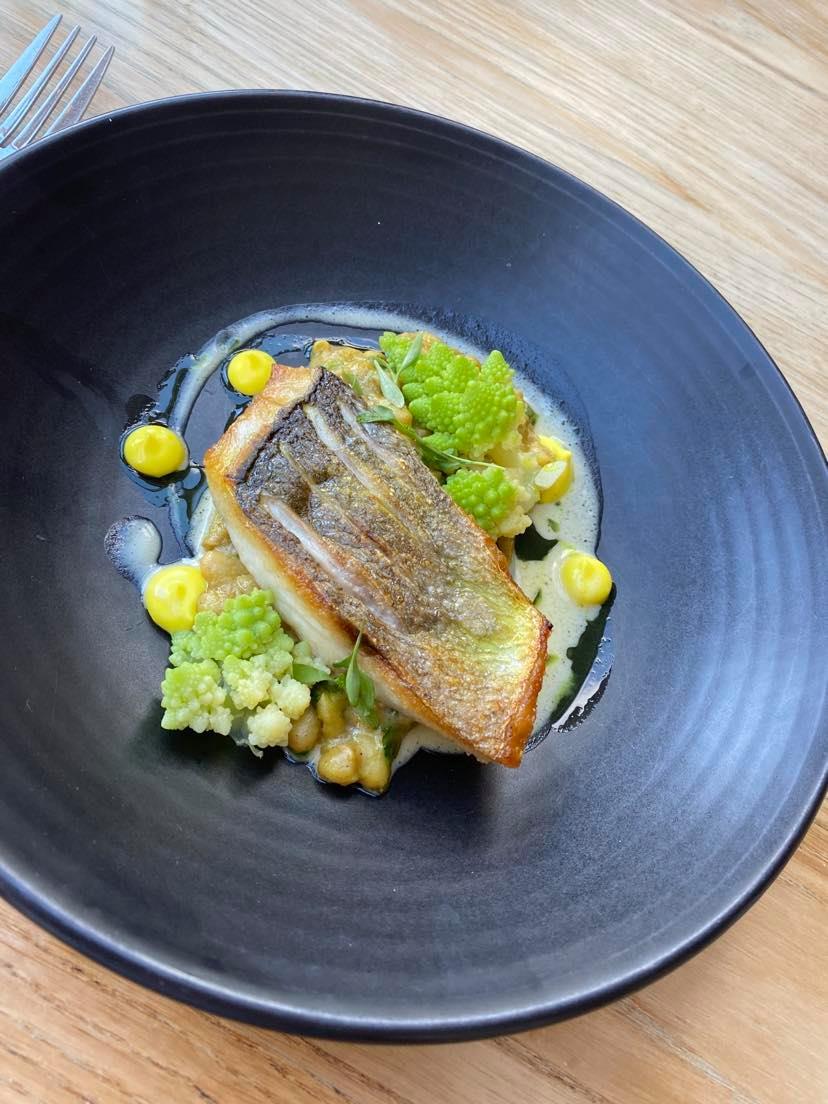 Pan fried sea bass on the tasting menu at The Folly, Oxford