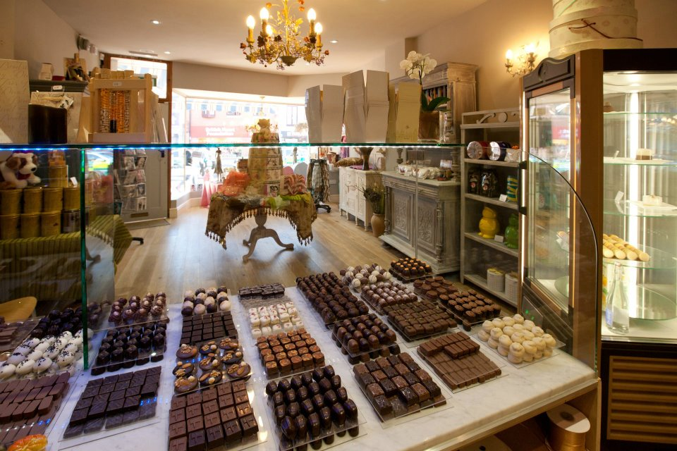 Chocolate display counter in Coco Noir, Headington, Oxford