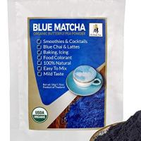 Zi Chun Teas - USDA Organic Butterfly Pea Flower Powder from Thailand, Blue Matcha - Vibrant Blue Color Changing. Ideal for Cocktails, Cooking, Food Coloring - Concentrated - 1.76 Ounce
