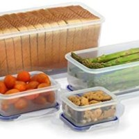 Popit! Sandwich Bread Box (12.7 cups), Vegetables (4.7 cups), 2 Snack Containers .7 & 1.3 cups