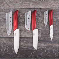 Ceramic Knife Set - 6 Pieces Chef Kitchen Knives Santoku and Paring