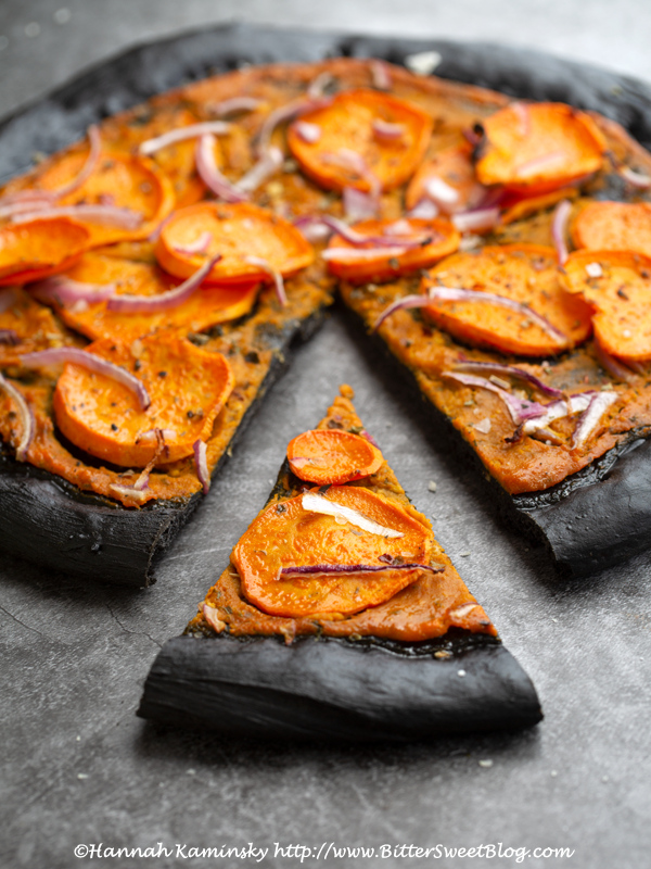Halloween Pizza (Charcoal Pizza Crust with Pumpkin Garlic Sauce and Sweet Potato Topping)
