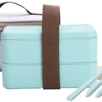 Japanese Bento Box, Arderlive Stackable Wheat Straw Portable Leakproof Lunch Box with Lunch Bag