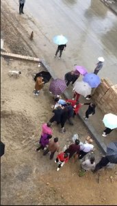 Villagers beat believers outside the church