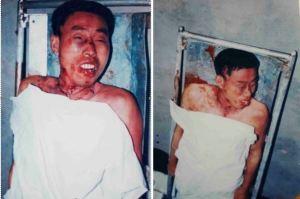 Photos of Xie Yongjiang taken during his family's viewing at the Suixi County Baishan Crematorium.