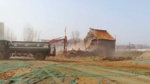 A temple in Xinzheng city is demolished.
