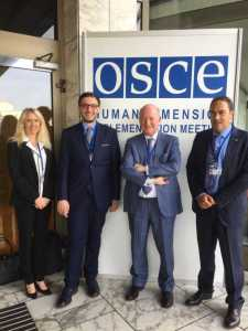 Massimo Introvigne at the OSCE meeting in Warsaw with Christine Mirre and Thierry Valle of the NGO CAP-LC and human right lawyer Alex Amicarelli
