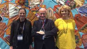 The panelist at the Parliament of the World's Religions: Holly Folk, Massimo Introvigne and Rosita Šorytė.