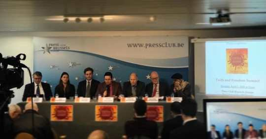 Speakers at the press conference in Brussels