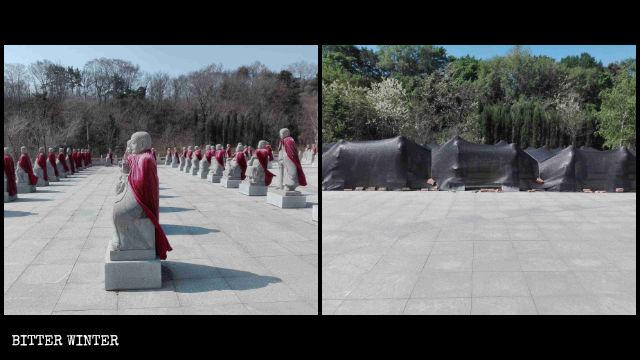 Shanyuan Temple's 500 Arhat statues in Fushun city