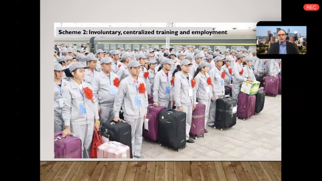 Zenz comments on young Uyghur men and women, identically uniformed with matching bags packed, readying for shipment to far flung parts of the Chinese empire to make clothes or telephones for renowned western brands.