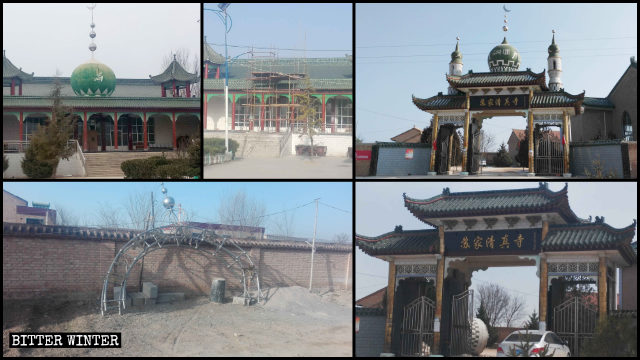 Islamic symbols have been removed from many mosques in the Kongdong district of Pingliang.