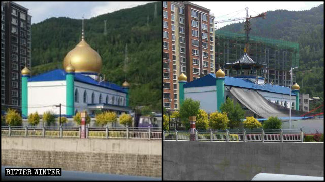 The dome of a mosque in Jilin's Linjiang city was converted