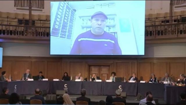 Khalmat Rozakhon addressing the Uyghur Tribunal concerning his imprisoned brother.